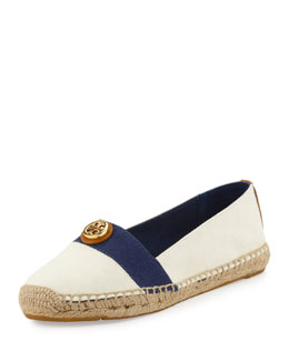 Tory Burch Beacher Canvas Espadrille Flat, Ivory/Newport Navy