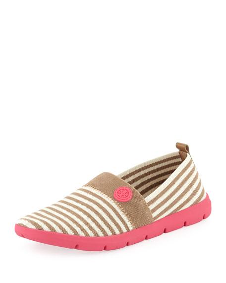 Micah Striped Elastic Sneaker, Ivory/Khaki/Pink