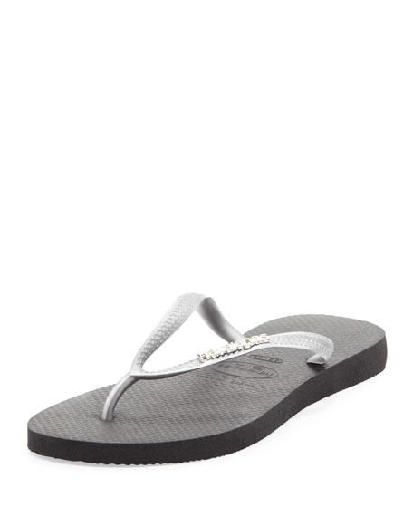 Slim Metallic Flip-Flop, Black/Silver