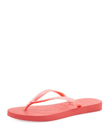 Slim Metallic Flip-Flop, Guava Red
