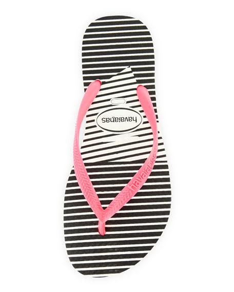 Slim Striped Flip Flop, White/Pink