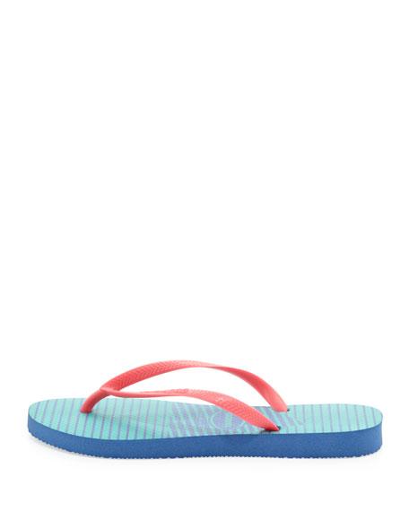 Slim Striped Flip Flop, Light Blue