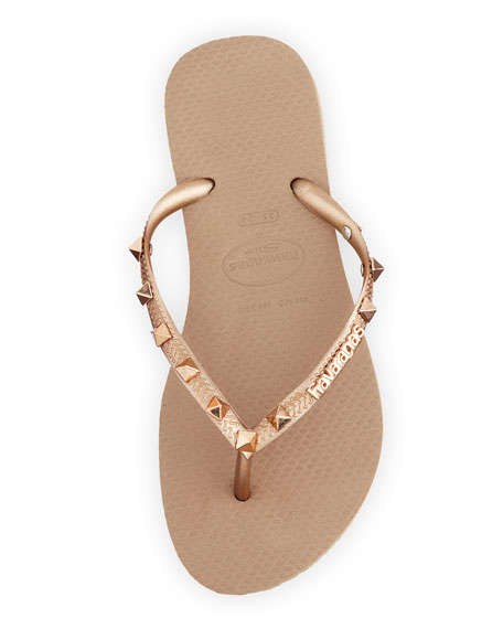 Slim Pyramid Stud Flip-Flop, Rose Gold