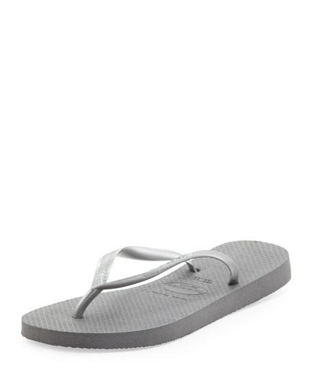 Slim Metallic Flip-Flop, Gray/Silver