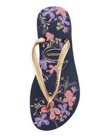 Slim Floral Print Flip-Flop, Navy