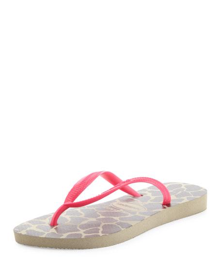 Slim Giraffe Print Flip-Flop, Sand Gray/Pink