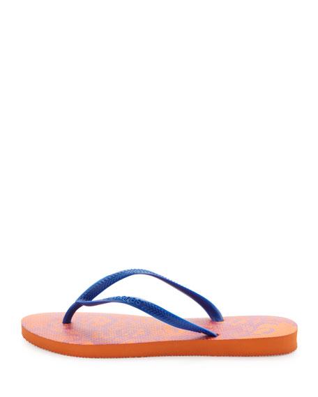 Slim Lace Print Flip-Flop, Neon Orange