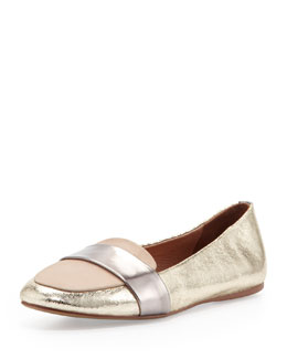 Jeffrey Campbell Lynda Metallic Combo Loafer Flat
