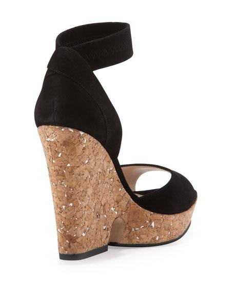 Una Cork Wedge Sandal, Black
