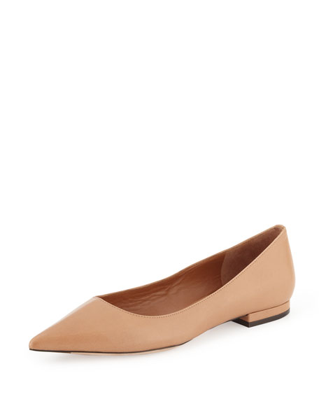 Ronney Leather Skimmer Flat, Nude