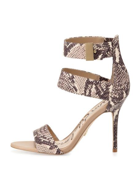 Addie Snake-Print Ankle Wrap Sandal