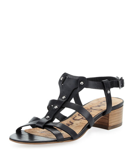 Angela Studded T-Strap Sandal, Black