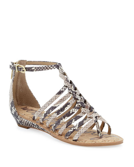Dakota Snake-Print Gladiator Sandal