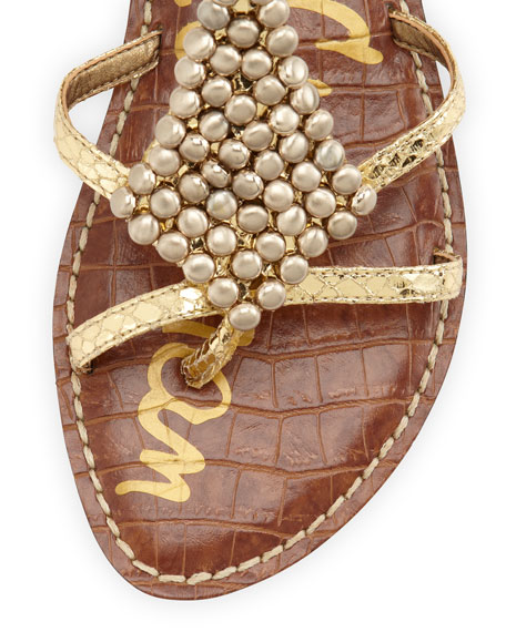 Ginger Beaded Metallic Gladiator Sandal