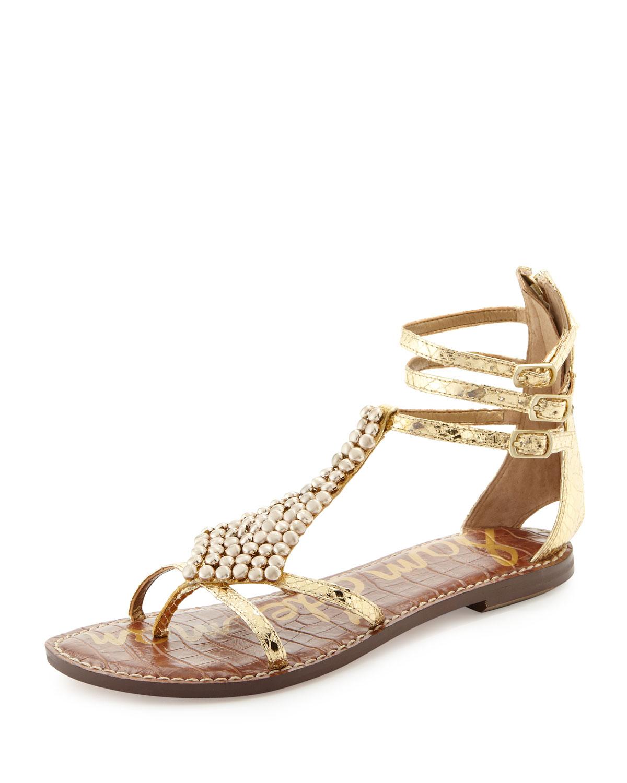 d9b5128d9 Sam Edelman Ginger Beaded Metallic Gladiator Sandal