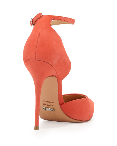 Floralite Scalloped Ankle-Wrap Pump, Salmon