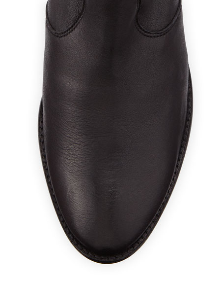Lucky Penny Side Zip Leather Bootie, Black