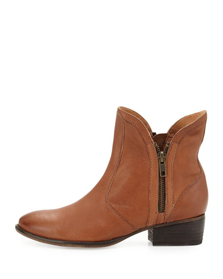 Lucky Penny Side Zip Leather Bootie, Cognac