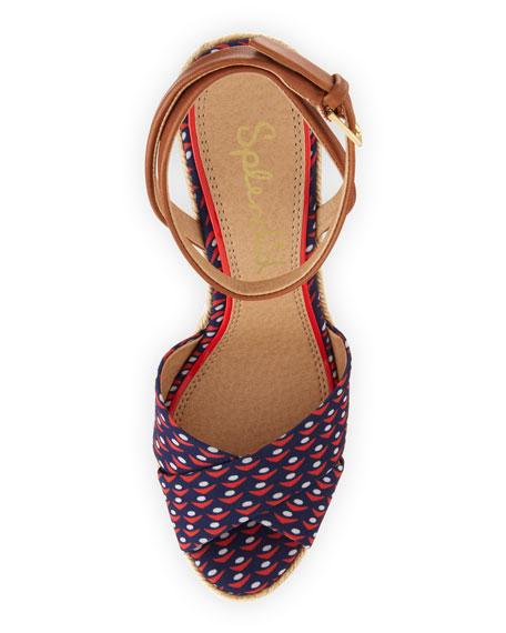 Benton Sailboat Print Wedge Sandal