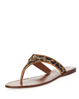 Tory Burch Cameron Leopard Straw Thong Sandal, Natural/Tan/Gold