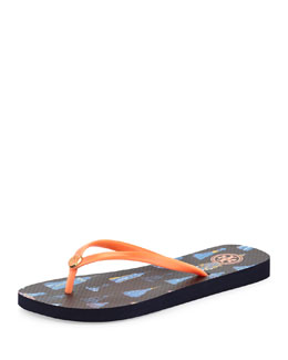 Tory Burch Tassel-Print Rubber Flip Flop, Sunset