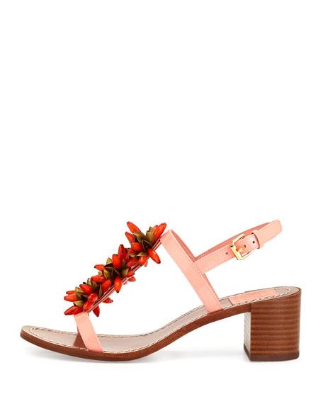 Emilynn Beaded T-Strap Sandal, Sorbet