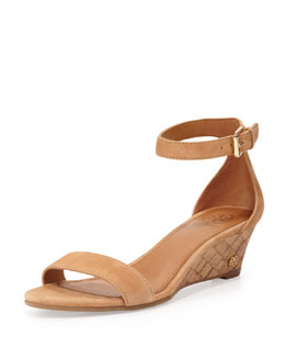 Tory Burch Savannah Suede Demi-Wedge Sandal, Capri Tan