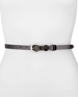 Rivette Patent Skinny Belt, Black