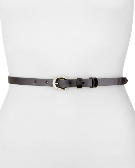 Patent Skinny Belt, Black
