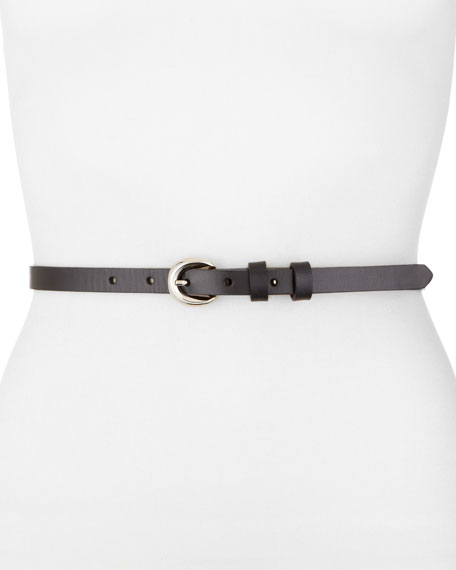Leather Skinny Belt, Black