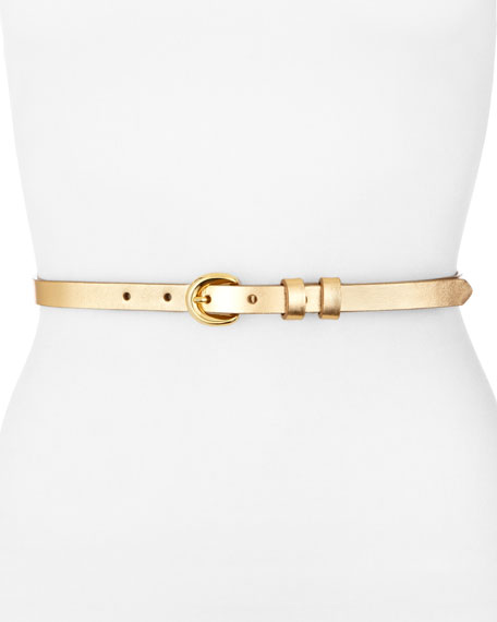 Metallic Leather Skinny Belt, Gold