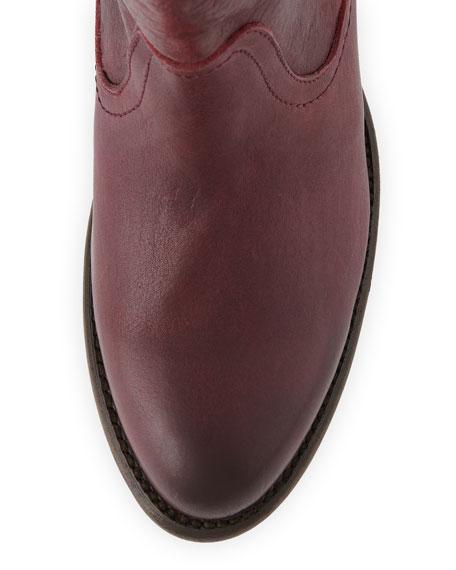 Leslie Leather Zip Bootie, Burgundy