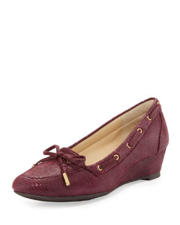 Taryn Rose Pinchas Lizard-Print Wedge Loafer, Port Wine