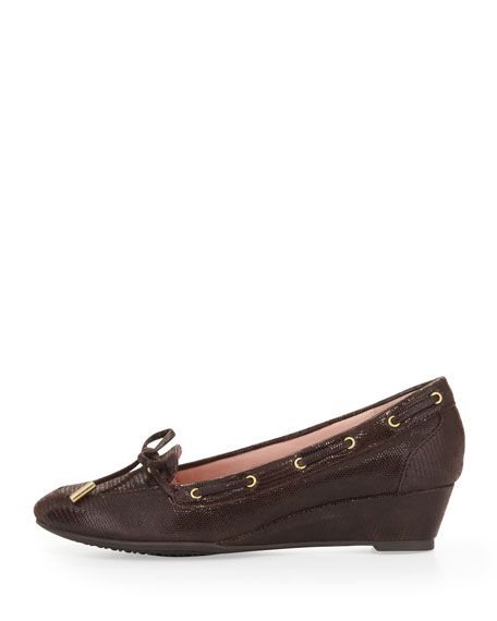 Pinchas Lizard-Print Wedge Loafer, Chocolate