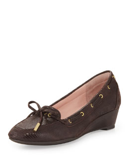 Taryn Rose Pinchas Lizard-Print Wedge Loafer, Chocolate