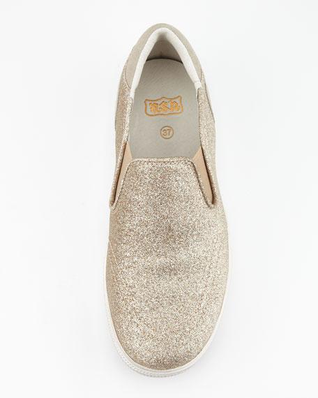 Jungle Bis Glitter Slip-On, Champagne