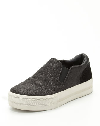 Jungle Bis Glitter Slip-On, Black
