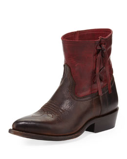 Frye Billy Cross Stitch Short Cowboy Boot, Burgundy