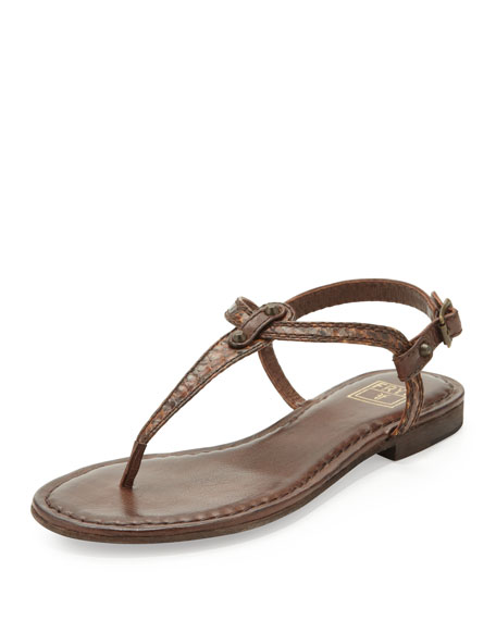 Carson Snake Thong Sandal, Dark Brown