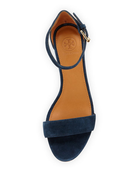 Savannah Suede Demi-Wedge, Newport Navy