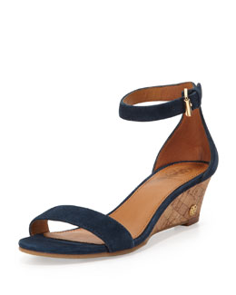 Tory Burch Savannah Suede Demi-Wedge, Newport Navy