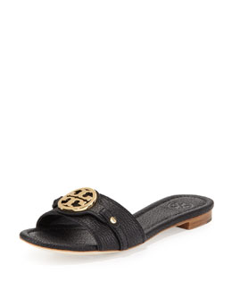 Tory Burch Leticia Leather Logo Slide, Black