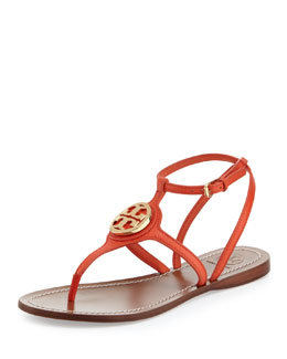 Tory Burch Leticia Logo Thong Sandal, Poppy Red