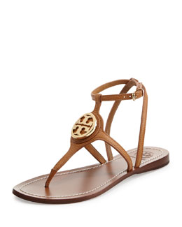 Tory Burch Leticia Logo Thong Sandal, Tan
