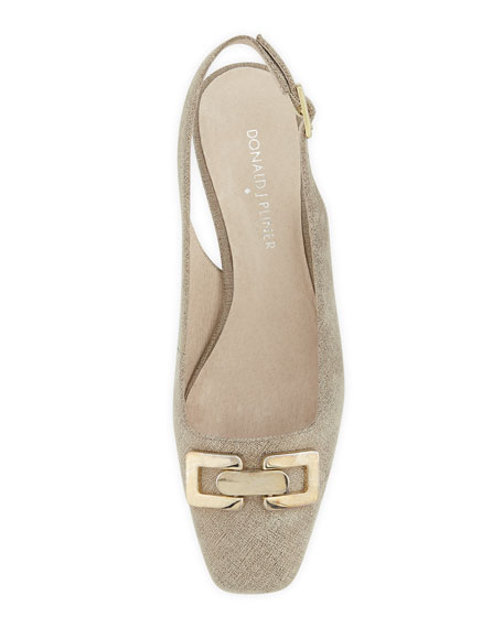 Selba Chain-Buckle Slingback Pump, Pewter
