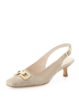 Donald J Pliner Selba Chain-Buckle Slingback Pump, Pewter
