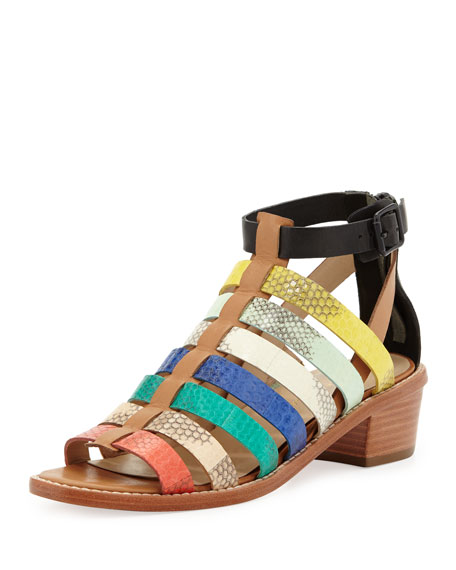 Rooney Snake Gladiator Sandal, Multicolor