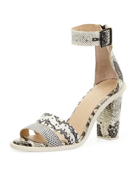 Snakeskin-Embossed Leather Sandal Pumps, Black/White