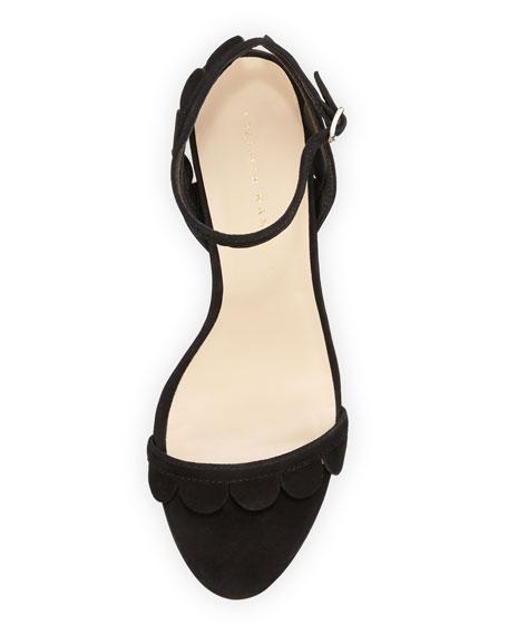 Lillit Scalloped Kitten-Heel Sandal, Black