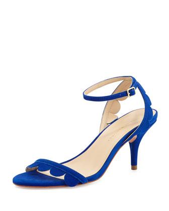 Loeffler Randall Lillit Scalloped Kitten-Heel Sandal, Blue